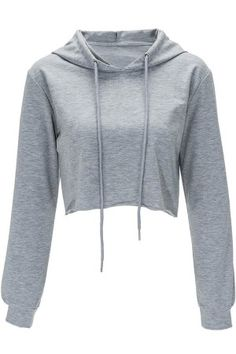 Autumn Chic O Neck Sweatshirt Women Cropped Hoody Short Featuring Tops Hooded Tracksuits Sweatshirt Solid Color Pull Femme Crop Top Hoodie, Crop Top Sweater, Grey Hoodie, Cropped Hoodie, Grey Shirt, Crop Top Jacket, Collared Sweatshirt, Glamouröse Outfits, Crop Top Outfits