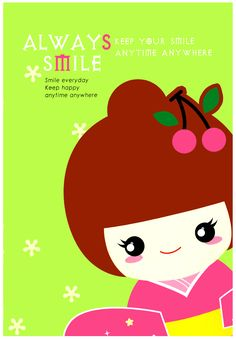 Aiko Kokeshi Doll Always Smile A5 Notebook