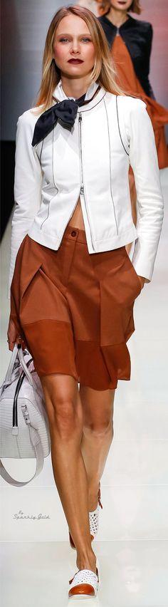 Emporio Armani Spring 2016 white jacket. camel skirt women fashion outfit clothing style apparel @roressclothes closet ideas