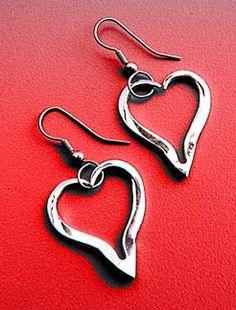 Recycled Heart Fork Earrings