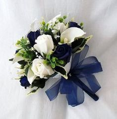 WEDDING FLOWERS BOUQUETS - BRIDES BOUQUET 2 POSIES CALA LILIES NAVY BLUE ROSES