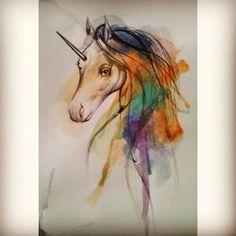 Unicorno #unicorn #watercolor #ink #watercolortattoo #barcelonatattoo #followme…