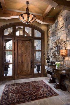 Front door Cabin Homes, Log Homes, Rustic Entryway, Rustic Interior Doors, Interior Stone Walls, Rustic Front Doors, Open Entryway, Rustic Walls, Unique Front Doors