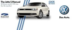 2012 Jetta S Lease Special at McDonald VW! Check out McDonald VW.com for details!