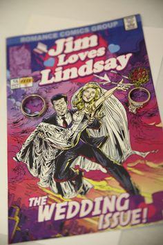 Wedding comic book programs via pinner Lindsey Heffron.