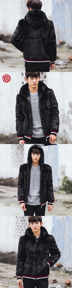 CR086  men's genuine rabbit fur coats real one fur jackets outerwear black color with fur hooded
