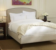 Fillmore Full Upholstered Curved Complete Bed – Textured Twill Oatmeal. $1199 for california king bed