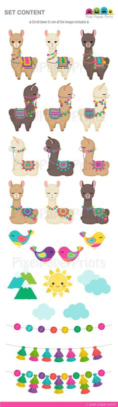 Your place to buy and sell all things handmade – Scrapbooking İdeas For İdeas. Alpacas, Llama Clipart, Wallpaper Fofos, Diy Bebe, Photoshop Elements, Planner Stickers, Creations, Clip Art, Embroidery