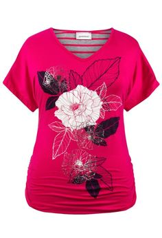 Avenue  Ruched Mixed Print Tee: Clothing