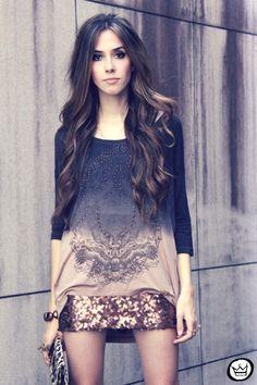 ombre shirt + sequined skirt