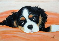 King Spaniel Dog Mini Painting, Acrylic on Canvas Board, Realism, dogs
