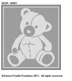 Original filet crochet pattern artwork © Karens Cradle Creations, Only two stitches are used in thiseasy open, lacey filet crochet pattern – the chain and the double crochet stitch. Filet Crochet Charts, Crochet Motifs, C2c Crochet, Crochet Bear, Tapestry Crochet, Crochet Blanket Patterns, Baby Blanket Crochet, Crochet Dolls, Crochet Stitches