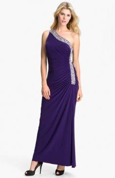 Embellished Trim One Shoulder Jersey Gown