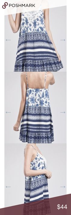 Blue Pepper lace and print dress. Beautiful sundress. Lace front with beautiful print.  Fully lined. High quality sold in all major department stores. Blu Pepper Dresses Asymmetrical