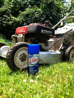 To mow after a rain and still keep wet grass from sticking to your lawn mower's blades: Before mowing, simply spray the blades with vegetable oil or nonstick cooking spray, and the grass won't stick!