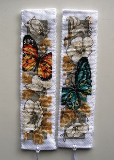 Vervaco cross stitch bookmarks-orange and green butterflies! Gorgeous!