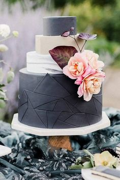 black and white wedding cakes black geometric layer of marble decorated with pink flowers emily reiter via instagram