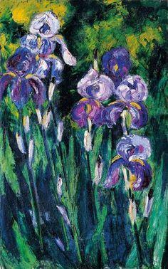 Max Pechstein - Irises in the Evening Shadows, 1925 - The Albertina Museum, Vienna Art Floral, Vincent Van Gogh, Gravure Photo, Art Amour, George Grosz, Iris Art, Paul Gauguin, Unusual Art, Post Impressionism