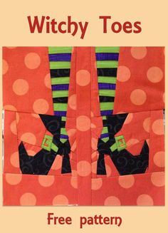 Witchy Toes cute Halloween quilt block - Halloween Roundup at Freemotion by the River