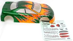 1/10 200MM ONROAD CAR BODY GREEN AND YELLOW