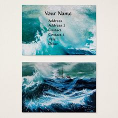 Ship In the Sea in Storm Business Card #navy #fineart #ships #marine #waves #ocean #sailing #maritime #travel #sea