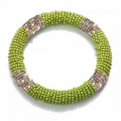 Lime Bead Wrapped Bangle
