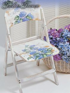 Trash to Treasure painted chair Hand Painted Chairs, Hand Painted Furniture, Funky Furniture, Small Furniture, Repurposed Furniture, Shabby Chic Furniture, Shabby Chic Decor, Furniture Projects, Furniture Makeover