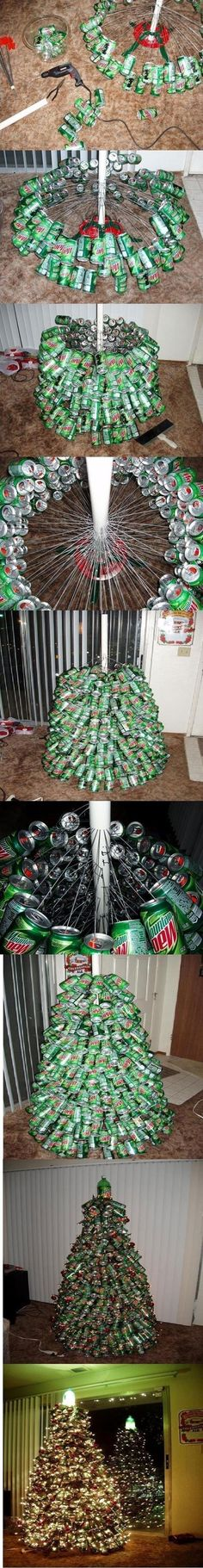 What a fun, unique idea! Make a Mountain Dew Christmas Tree