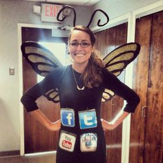Be a pun-y ~*social butterfly*~ for Halloween this year (we're looking at you, social media goddesses). We've got 19 more hilarious and easy DIY costumes to rock this year. Click through for more fun Halloween ideas. Pun Costumes, Punny Halloween Costumes, Clever Halloween Costumes, Creative Costumes, Halloween Kostüm, Diy Halloween Costumes, Holidays Halloween, Female Costumes, Friend Costumes