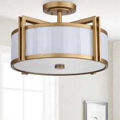 Surprise Deal Dublin 3 Light Semi-Flush Mount By Latitude Run Gold Ceiling Light, Semi Flush Ceiling Lights, Flush Mount Lighting, Flush Mount Ceiling, Office Ceiling Light, Living Room Lighting Ceiling, Modern Bedroom Lighting, Ceiling Fan, Home Decor Shops