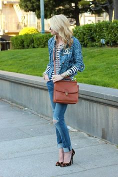 Love the stripe tee paired with my Tory Burch jacket. Thanks to Blair of Atlantic-Pacific for the inspiration.
