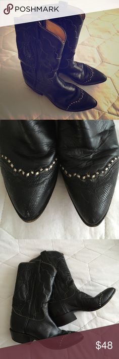 NEW to POSH⭐️ Vintage 1980s Tony Lama Boots Vintage 1980s Tony Lama black leather cowboy boots. Snakeskin toe with white leather stitches and white scrolled stitches on shaft. Beautiful condition! Barely worn with minimal scuffs that are easily polished (I will probably polish them before they are sent out!) Perfect with almost anything! Totally bitchin! Style 7075. Tony Lama Shoes Heeled Boots