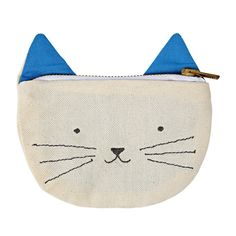 A cute kitty fabric pouch with metal zip and embroidered pointy ears, perfect for a cat lover. The pouch is lined with cotton. - Single fabric pouch - Pouch size: 6 x 6 inches