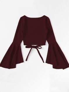Wrap shirt with flounce sleeves is part of Outfits - Wickelshirt mit Volantärmeln SHEIN Wrap shirt with flounce sleeves Shein Teen Fashion Outfits, Look Fashion, Girl Fashion, Girl Outfits, Fashion Dresses, Fashion Jobs, Young Fashion, Club Outfits, 80s Fashion