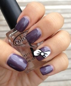 Super Cute Bow Manicure Tutorial. Would do pink background or lighter color.