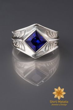 Engraved Armor Statement Ring with Square Stone- gemstone, medieval, for men, knight, blue, engagement ring, celtic, game of thrones