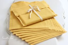 CD packaging - 10 linen fabric envelopes - yellow linen CD envelopes