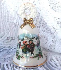 Vintage Porcelain Avon Christmas Bell Ice skating by azsunshine51, $6.00