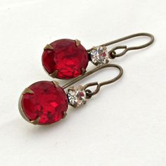 Ruby Red Earrings Red Earrings Garnet by laurenblythedesigns, $18.00