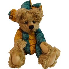 """Vintage Early Cotswold Limited Edition """"Jester"""" Teddy Bear Stuffed Animal."""