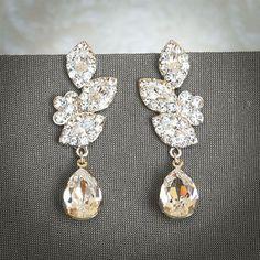 LYSETTE, Swarovski Crystal Bridal Earrings, Wedding Chandelier Earrings, Vintage Inspired Flower and Leaf Wedding Dangle Earrings, Jewelry
