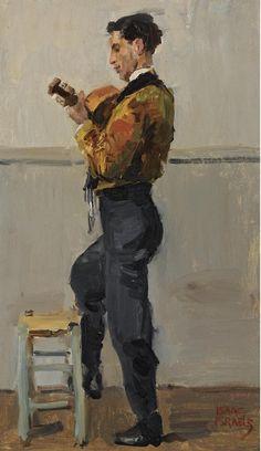 Isaac Israëls (Dutch, 1865-1934), The Guitar Player, oil on canvas, 55 x 33 cm.