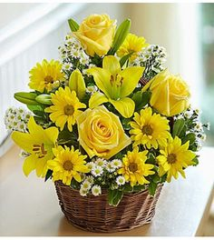 Order Basket of Sunshine™ flower arrangements from All Flowered Up Too, your local Lubbock, TX florist. Send Basket of Sunshine™ floral arrangement throughout Lubbock and surrounding areas. 800 Flowers, Yellow Flowers, Spring Flowers, Bright Flowers, Bright Colors, Basket Flower Arrangements, Rose Arrangements, Basket Of Sunshine, Send Flowers Online