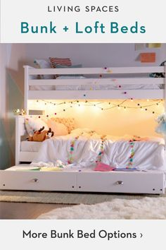 Bunk beds + loft beds kids will love. Space saving bunk beds with storage and trundle options. Loft Bunk Beds, Bunk Beds With Storage, Modern Bunk Beds, Kids Bunk Beds, Bed Storage, Storage Hacks, Furniture Storage, Girl Room, Girls Bedroom