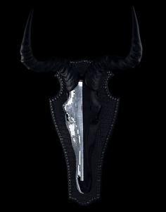 Animal Skull Art Wildebeest 'FARI' Gambian meaning 'Queen' MATT BLACK & SILVER MIRROR MOSAIC 'WILDEBEEST' SKULL Mounted on a black croc skin fabric with gunmetal studs Width 37.5cms Height 66cms Original Sculpture by Scott Hendrie