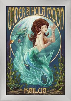 Kailua, Hawaii - Under a Hula Moon - Mermaid - Lantern Press Artwork (12x18 Giclee Art Print, Gallery Framed, Silver Wood), Multi