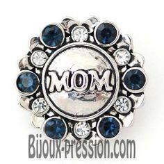 Bouton pression métal texte mom strass bleu blanc