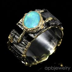 Handmade Fine Art Natural Blue Opal 925 Sterling Silver Ring Size 8/R32990 #APBJewelry #Ring