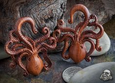 hand carved wood plugs octopus - Google Search