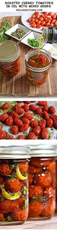 Preserved roasted cherry tomatoes Italian way! - Cherry tomatoes in the oven in olive oil are both excellent for pasta, risottos, salads. Vegetable Recipes, Vegetarian Recipes, Healthy Recipes, Vegan Vegetarian, Roasted Cherry Tomatoes, Canning Recipes, Canning Jars, Canning 101, Mason Jars